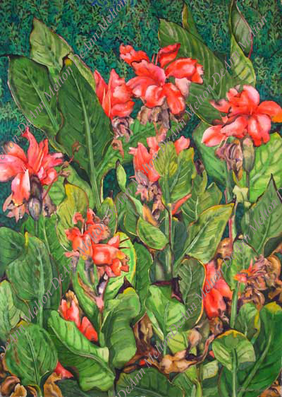 Cannas with Texas Ranger watercolor by DeAnn Melton