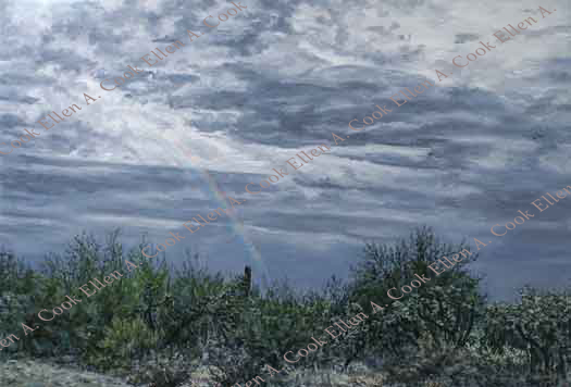 oil painting of rainbow over desert by Ellen A. Cook