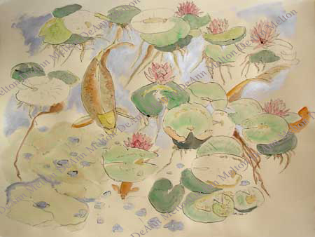 watercolor Lily Pond Silver Light with carp by DeAnn Melton