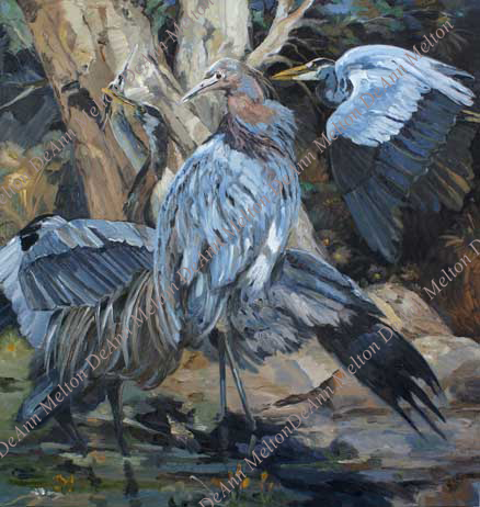 oil painting of blue herons by tree at night by DeAnn Melton