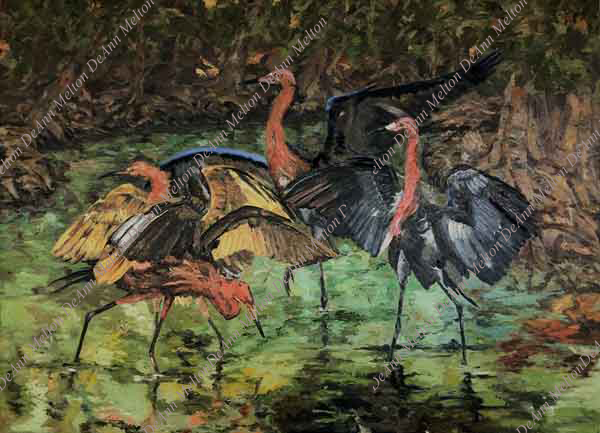 oil painting of reddish egrets standing in water with vegetation by DeAnn Melton